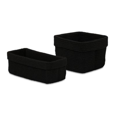 Crochet Small Storage Basket in Black