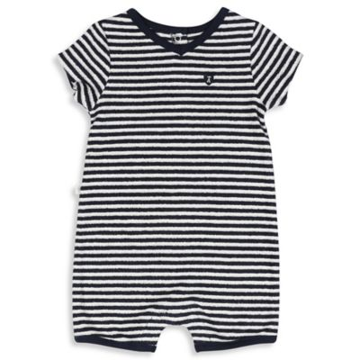 Absorba® Size 0-3M Striped Terry Romper in Blue/White