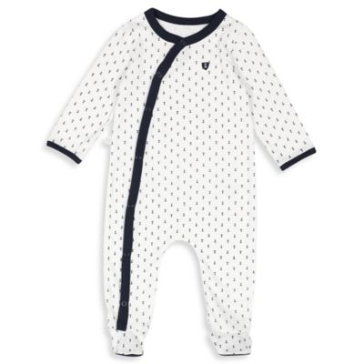 Absorba® Size 6-9M Snap-Front Anchor Footie in Navy/White
