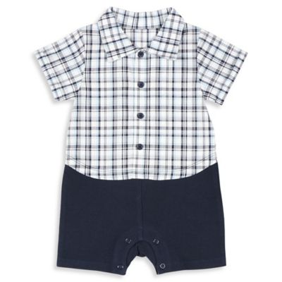 Absorba® Size 6-9M Plaid Romper in Navy/White