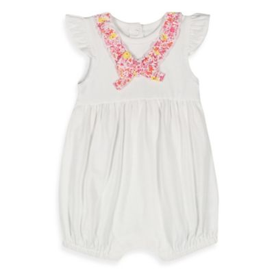 Absorba® Size 0-3M Knit Romper in White with Pink Floral Trim