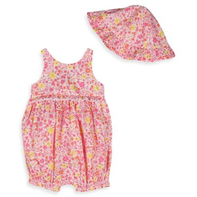 Absorba® Size 6-9M 2-Piece Sleeveless Bubble Romper and Ruffled Hat Set in Pink/Yellow