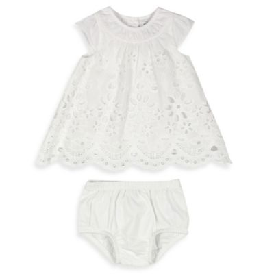 Absorba® Size 3-6M 2-Piece Fancy Eyelet Dress and Diaper Cover Set in White