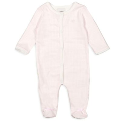 Absorba® Size 0-3M Full-Snap Front Gingham Footie in Pink