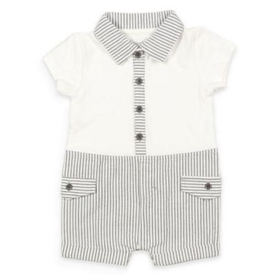 Absorba® Size 3-6M Knit and Seersucker Romper in White/Grey
