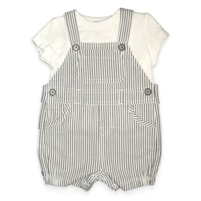 Absorba® Size 0-3M 2-Piece Seersucker Shortall and T-Shirt Set in Grey/White