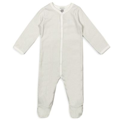 Absorba® Size 6-9M Full-Snap Front Gingham Footie in Grey