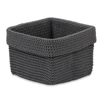 Crochet Small Storage Basket in Grey