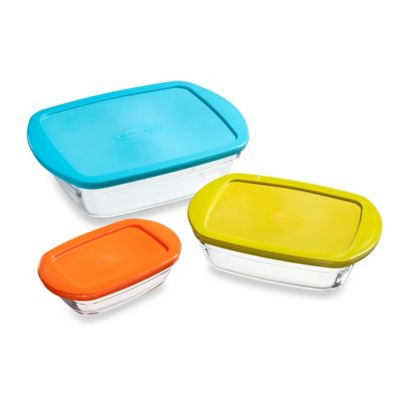 Arcuisine Borosilicate 3-Piece Rectangular Cook N Store Set with Lids