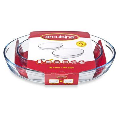 Arcuisine Borosilicate 2-Piece Oval Roaster Set