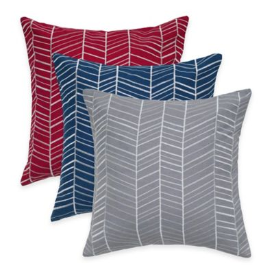 Rizzy Home Retro Embroidered Square Throw Pillow in Gray