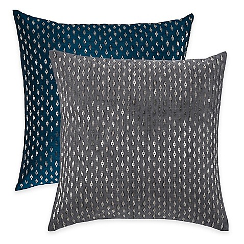 Rizzy Home Beaded Pattern Square Throw Pillow in Silver - Bed Bath & Beyond