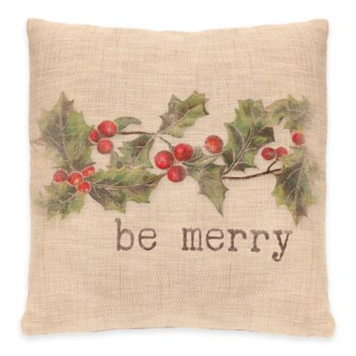 "Heritage Lace ""Be Merry"" Square Throw Pillow"