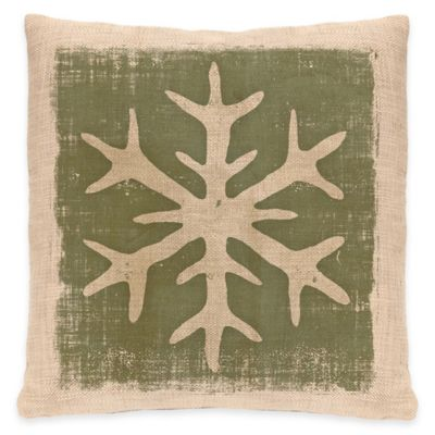 Heritage Lace Rustic Snowflake Square Throw Pillow in Natural