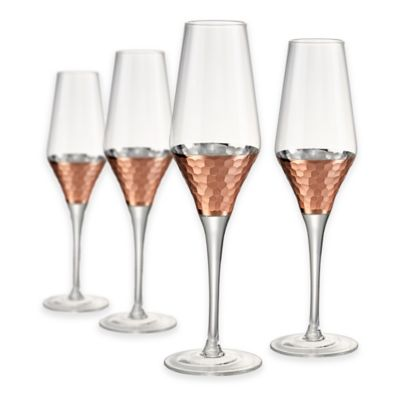 Artland® Coppertino Hammered Flutes (Set of 4)