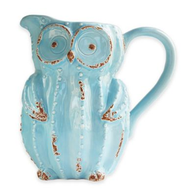American Atelier Earthenware Owl Pitcher in Blue