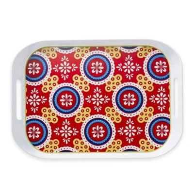 Q-Squared Montecito Red Large Serving Tray