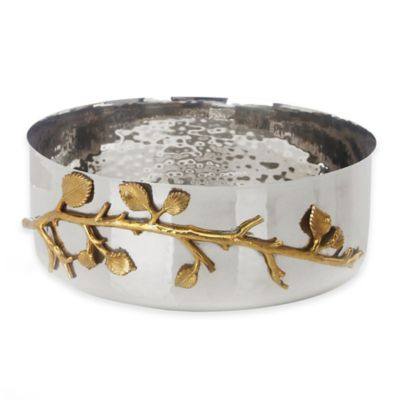 Classic Touch Tervy Leaf 2-Tone Hammered Bowl