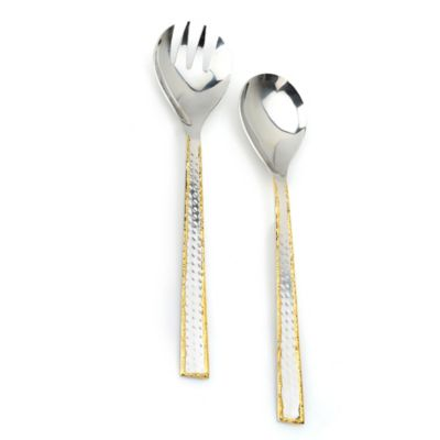 Classic Touch Hammered Salad Servers in Stainless Steel/Gold
