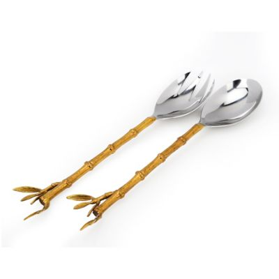 Classic Touch Tervy Bamboo Salad Servers in Gold