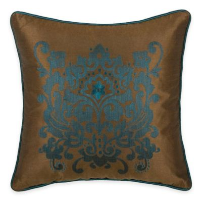 Rizzy Home Embroidered Medallion Square Throw Pillow in Peacock Blue