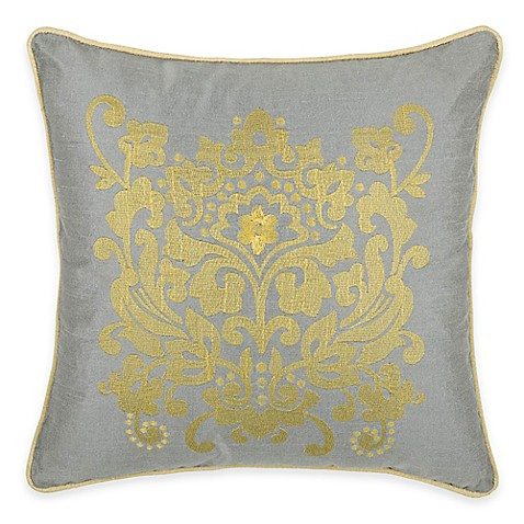 Buy Rizzy Home Embroidered Medallion Square Throw Pillow in Silver from Bed Bath & Beyond