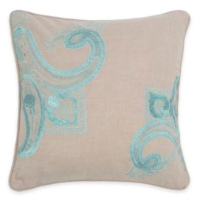 Rizzy Home Vintage Embroidered Throw Pillow in Khaki/Blue