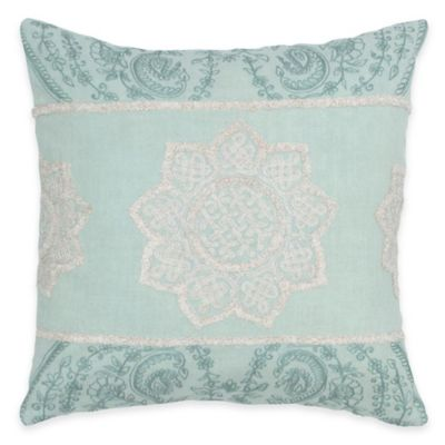 Rizzy Home Vintage Embroidered Throw Pillow in Aqua/White