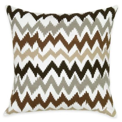 Rizzy Home Chevron Square Throw Pillow in Brown
