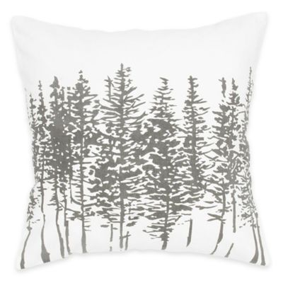 Rizzy Home Printed Pattern Square Throw Pillow in Off White