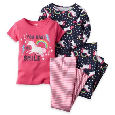 carter's® Size 12M 4-Piece Unicorn Pajama Set in Pink