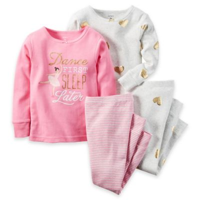 carter's® Size 2T 4-Piece Ballet Dancer Long-Sleeve Pajama Set in Pink
