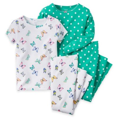 carter's® Size 2T 4-Piece Polka Dot Butterfly Pajama Set in Green