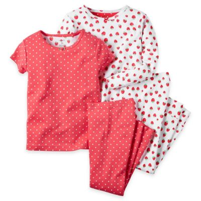 carter's® Size 12M Strawberry 4-Piece Pajama Set in Red