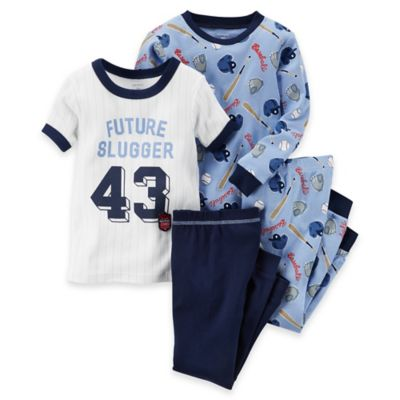 "carter's® Size 2T 4-Piece ""Future Slugger"" Baseball Pajama Set"