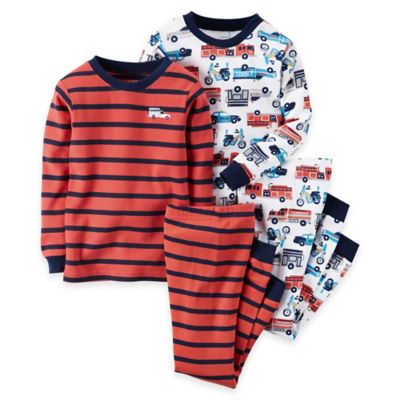 carter's® Size 2T 4-Piece Fire Truck Long-Sleeve Pajama Set in Red