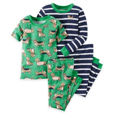 carter's® Size 2T 4-Piece Dog Print Pajama Set in Green