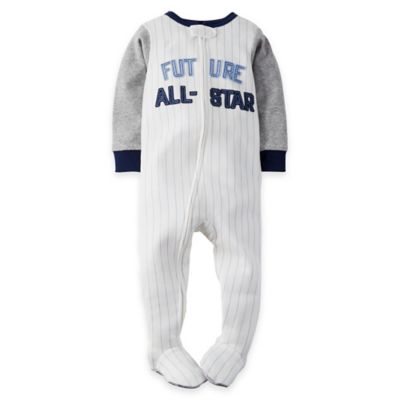 "carter's® Size 24M Zip-Front Baseball ""Future All-Star"" Footed Pajama in White"