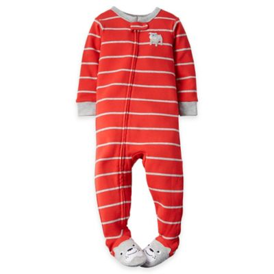 carter's® Size 24M Zip-Front Striped Bulldog Footed Pajama in Red