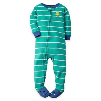 carter's® Size 12M Zip-Front Striped Monster Footed Pajama in Mint