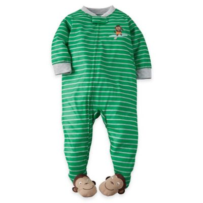 carter's® Size 12M Zip-Front Monkey Striped Footed Pajama in Green