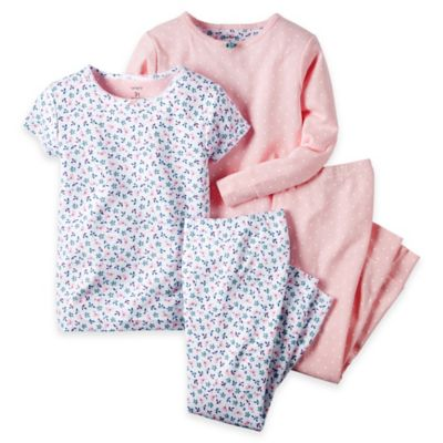 carter's® Size 12M Flower 4-Piece Pajama Set in Pink