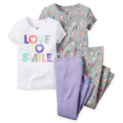 carter's® Size 2T 4-Piece Smile Pajama Set in Grey