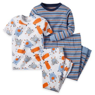 carter's® Size 2T 4-Piece Monster Pajama Set in Heather Blue