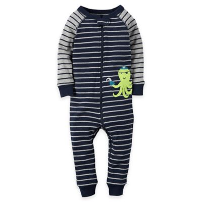 carter's® Size 24M Striped Octopus Coverall Pajama in Navy
