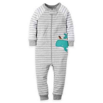 carter's® Size 24M Striped Whale Coverall Pajama in Grey