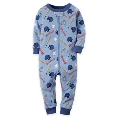 carter's® Size 18M Baseball Coverall Pajama in Light Blue