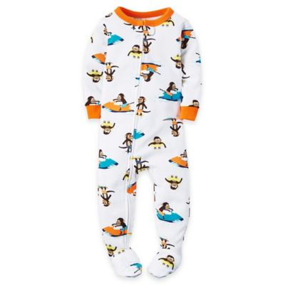 carter's Size 12M Zip-Front Monkey Footed Pajama in White