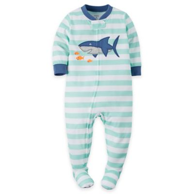 carter's Size 12M Shark Striped Footed Pajama in Light Blue
