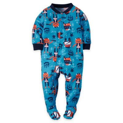 carter's Size 12M Zip-Front Nautical Footed Pajama in Blue